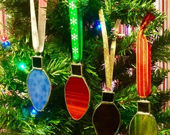 Stained Glass Light Bulb Christmas Tree Ornaments By Sparkle Stained Glass