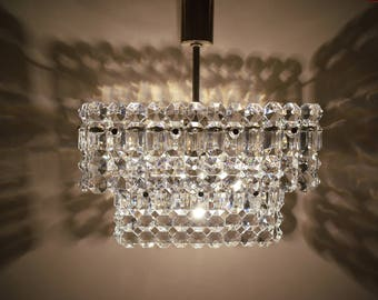 Vintage chandelier - Chandelier lighting - Chandelier with a crystal glass pendants - Mid century chandelier