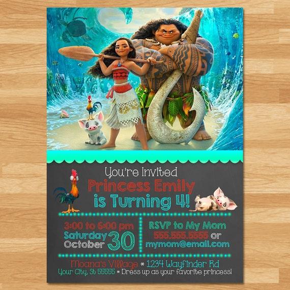 Moana Princess Birthday Party Invitations