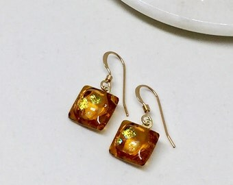 Earrings – Amber and Gold Dichroic Fused Glass Earrings