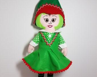 Elf doll, Christmas elf, elf ornament, elf girl doll, fabric elf, felt elf, cloth elf, handmade elf, gift for girls, by frog pond toys