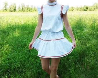 White Summer Dress / White Etno Dress / Ruffle Dress / White Embroidered Dress
