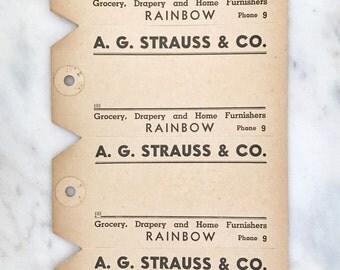 Sheet of 4 Vintage Shipping Tags, Paper Ephemera