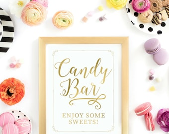 Gold Foil Candy Bar Sign | Instant Download Wedding Ceremony Reception Sign | Dessert Table Gold Foil Calligraphy | Suite | WS1