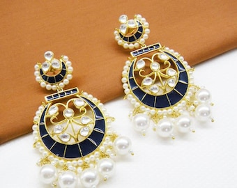 Enamel And Pearl Chandbali Earrings - DH8 JOOLRY