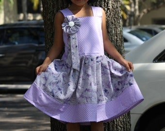 Sizes 2t-5 Girls Dress, Girls purple Dress, Girls Cotton Dress, Girls Spring Dress,  Girls summer Dress