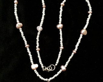Pink and White Pearl Beaded Necklace