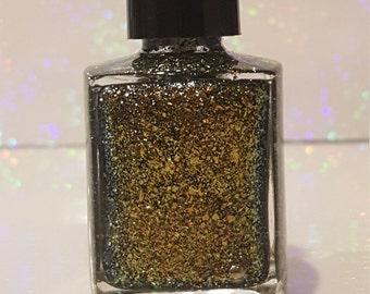 Black Gold-hand made glitter nail polish