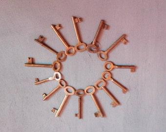 VTG Set Of 14 Old Solid Brass Keys // 14 Bulgarian Skeleton Keys, Old Keys Collectibles, Rustic Keys, Edwardian Keys, Antique Cabinet Keys