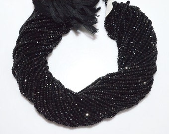 Good Quality Black Spinel Rondelle Beads 13 Inch Strand , Black Spinel Faceted Rondelle Beads , 3 mm - MC870