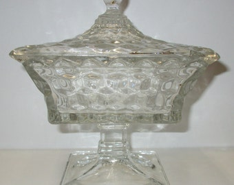 fostoria american crystal covered candy jar