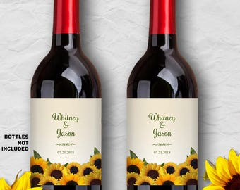 """Printable Rustic Sunflowers Wine Bottle Labels - Bridal Shower or Wedding; Personalized 4"""" x 5"""" Labels - Editable PDF, Instant Download"""