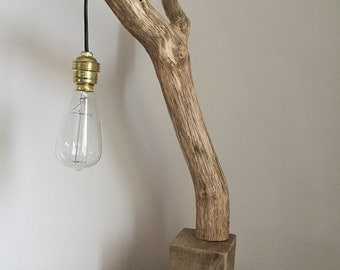 Driftwood with suspended filament bulb, lamp vintage