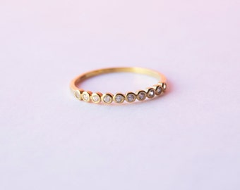 Gold cz ring - thin stacking ring - ring - cz ring - tiny gold cz ring - tiny cz ring - bezel ring - gold bezel ring - gold ring - Q10837