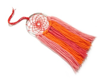 Orange Dream Catcher Orange Dreamcatcher Ombre Orange Wall Hanging Small Dream Catcher Yarn Wall Hanging Boho Wall Decor Nursery Crib Mobile