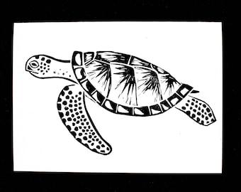 Sea Turtle Linocut Hand-Printed Greeting Card - Black