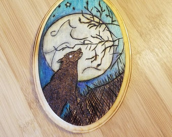 Howling Wolf Under Full Moon Wood Burned & Colored Plaque