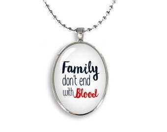 Supernatural Oval Pendant Necklace Family Dont end with Blood Fandom Jewelry Cosplay Fangirl Fanboy