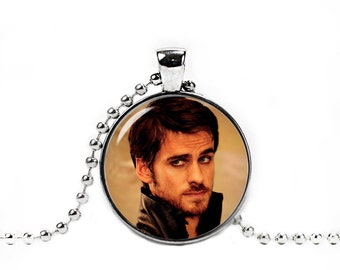 Captain Hook Necklace Captain Hook Round Pendant Once upon a time Fandom Jewelry Fangirl Fanboy