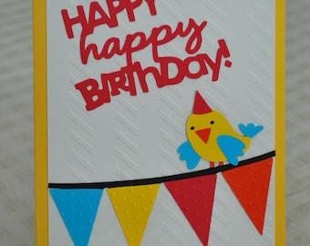Birthday Card - Colorful Birthday Greeting Card - Bird Birthday Card - Happy Birthday Handmade Card - Blank Inside