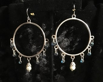 Fishhook dangle hoop earrings