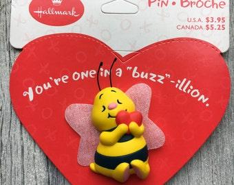 Vintage hallmark valentines pin, vintage Valentine's Day Bee pin, vintage Valentine's card, vintage hallmark