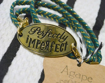 Wrap Bracelet: Perfectly Imperfect. Teal and Gold.