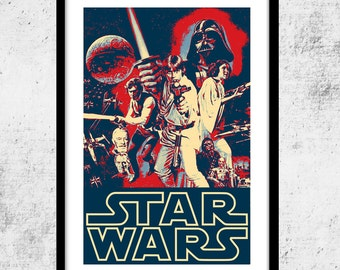 Star Wars Art Print, Shepard Fairey-Hope Poster Inspired Print, Retro Star Wars Print