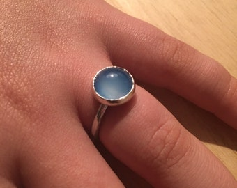 Sterling Silver Blue Agate Ring