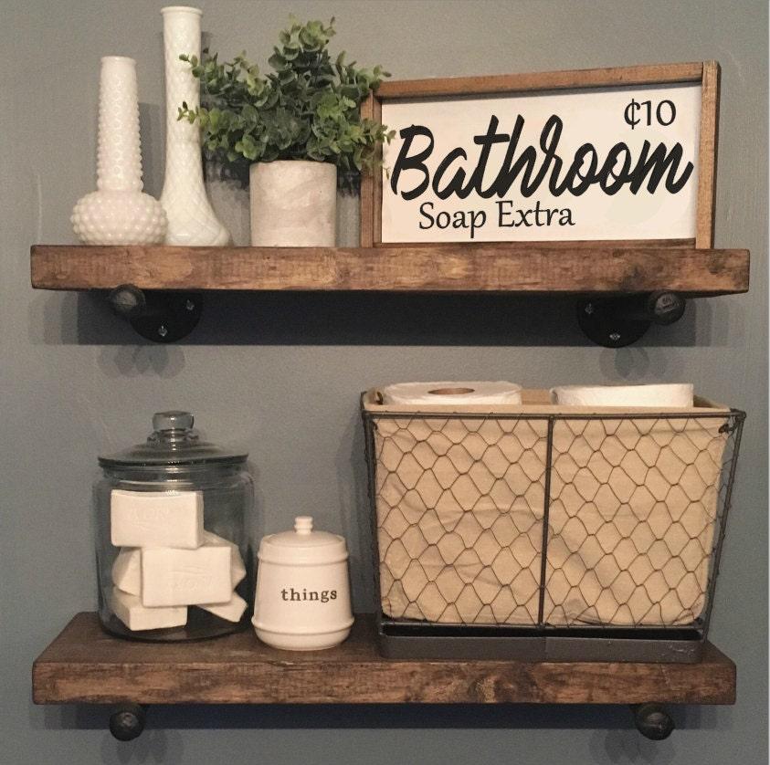Bathroom Sign Wood Frame Custom Home Decor Farmhouse Style Rustic