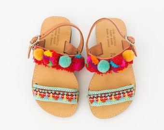 Kids boho sandals|Kids Sandals|Pompom sandals|Ethnic flip flops|Greek leather sandals|Handmade sandals|Baby sandals|Free shipping