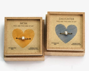 mother of the bride gift, gift mom, mother daughter jewelry, mothers day from daughter, mom jewelry, mothers ring, mother daughter rings