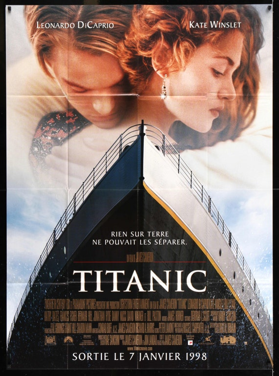 titanic 1997 vintage french grande movie poster 46 x