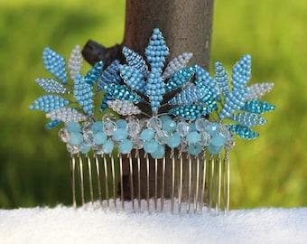 Bridal hair comb Blue hair comb Leaf hair comb Wedding hair comb Hair combs Comb for hair Beaded hair comb
