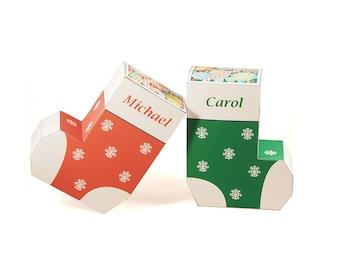Christmas Stocking Favor Boxes - Printable PDF