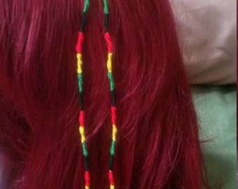 Rasta Hair Clip W/Bead & Charm