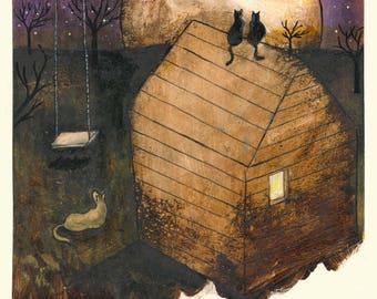 L'altalena (The swing) - print of original illustration