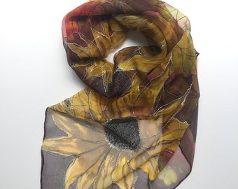 Artisanal hand painted chiffon SILK SCARF with SUNFLOWERS. Elegant and Romantic Scarf. Unique Masterpiece by Silk Tales