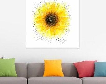 Sunflower painting // A4 sunflower print // sunflower art print // sunflower art // sunflower gifts // sunflower drawing // sunflower print