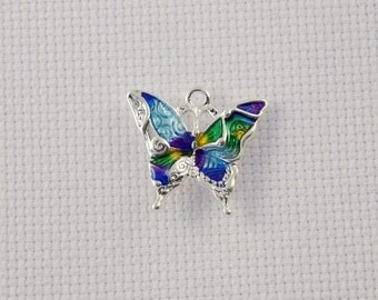 Small Silver and Enamel Butterfly Needleminder / Small Colourful Butterfly Needleminder