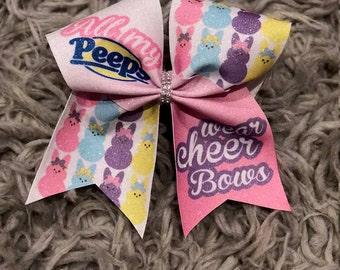 All My Peeps Wear Cheer Bows~Easter Bow~Peeps Cheer Bow~Peeps~Easter~Sparkle Cheer Bow~Pastel Colors~Cheerleading Bow~Cheer Bow