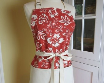 Red Hawaiian Hibiscus Apron, USA Made Apron, Womens Apron, Chefs Apron, Cute Apron, Hostess Apron, Retro Apron, 1950s Apron, Red Apron