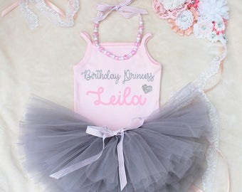Birthday Princess Custom Name Baby Girls Outfit Set Grey Tutu Silver Glitter Print Pink Vest Bodysuit Onesie With Necklace
