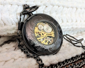 Engraved pocket watches SET OF 5, groomsmen pocket watches gifts, wedding pocket watch, black pocket watch personalized watch skeleton watch