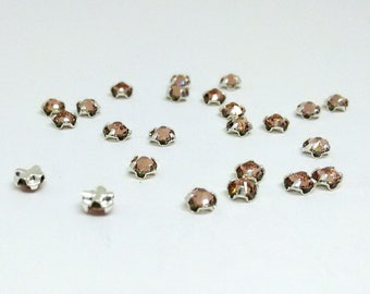 12 Vintage Rose Bead, 3mm Swarovski Crystal and Silver Plated Pewter, with Rose Montées Flat Back, SS12 Swarovski Crystal, Loose Bead,YC5549