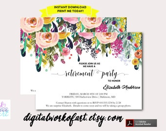 Retirement Party Invitation Template Printable, DIY Watercolor Floral Invitation, Instant Digital Download Invite, Editable PDF Template