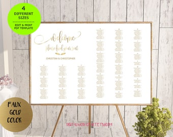 Gold Wedding Seating Chart, printable seating chart, Seating Chart Template, engagement seating chart, Find your seat sign, Editable PDF,