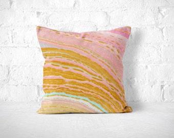 Marble Pillow, Agate Pillow, Pink Throw Pillow, Pink and Gold, Marbled Throw Pillow, Pink Marble Pillow, Gold Marble Pillow, Neutral Marble