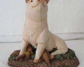 1985 AUS-BEN STUDIOS Cold Bronze Cast Pig Figurine Signed Boone & Initialed C.E.