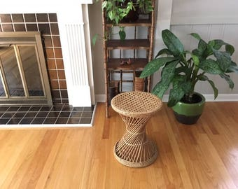 Mid century Modern Wicker/Cane stool/plant stand/side table
